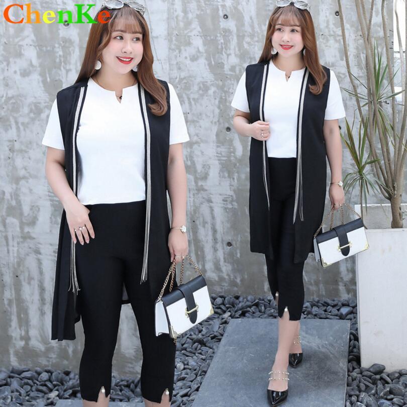 f598a7967bad 2019 ChenKe 2018 New Summer 4XL Plus Size Suit Sets V Neck Short ...