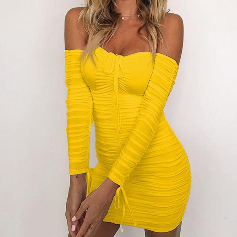 849ad19e663 Women Slim Fit Dress Sexy Bodycon Long Sleeve Package Hip Club Dress Solid  Color Off Shoulder Mini Dress Petite Dress Petite Cocktail Dresses From  Your02, ...