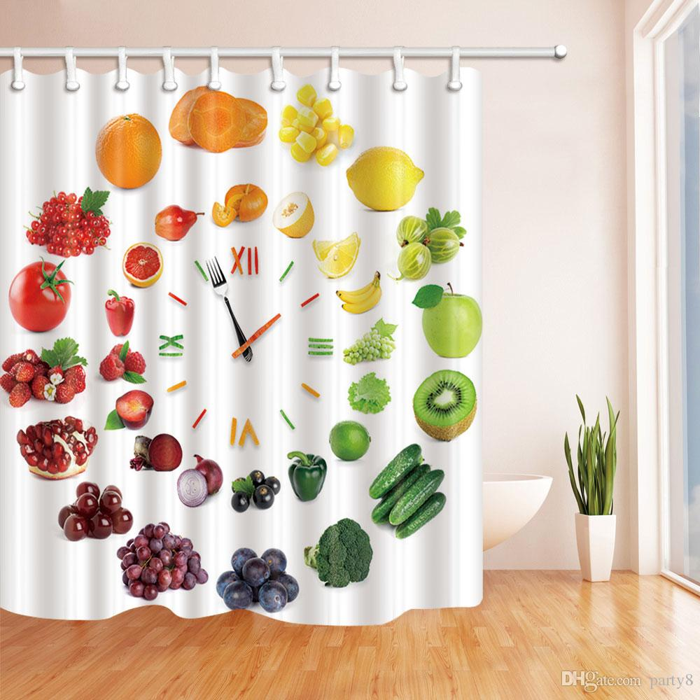 2019 Vegetable And Fruit Fashion Shower Curtain 70 X In Mildew Resistant Waterproof Polyester Fabric Bathroom Accessories Hanging Curtains From Party8