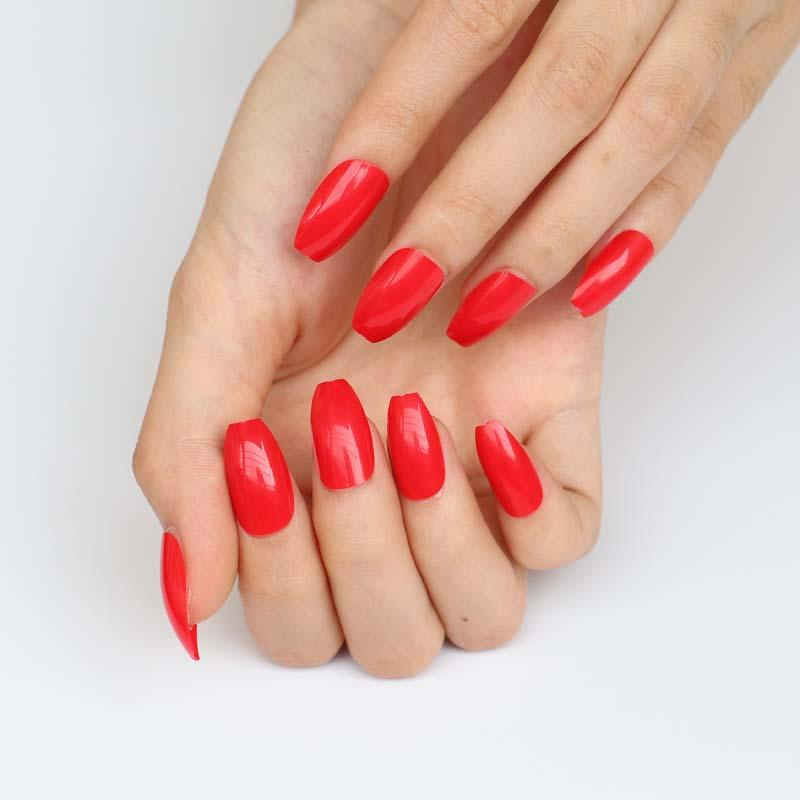 Latest Candy Color Coffin Like Fake Nails Bright Red G231 Plain