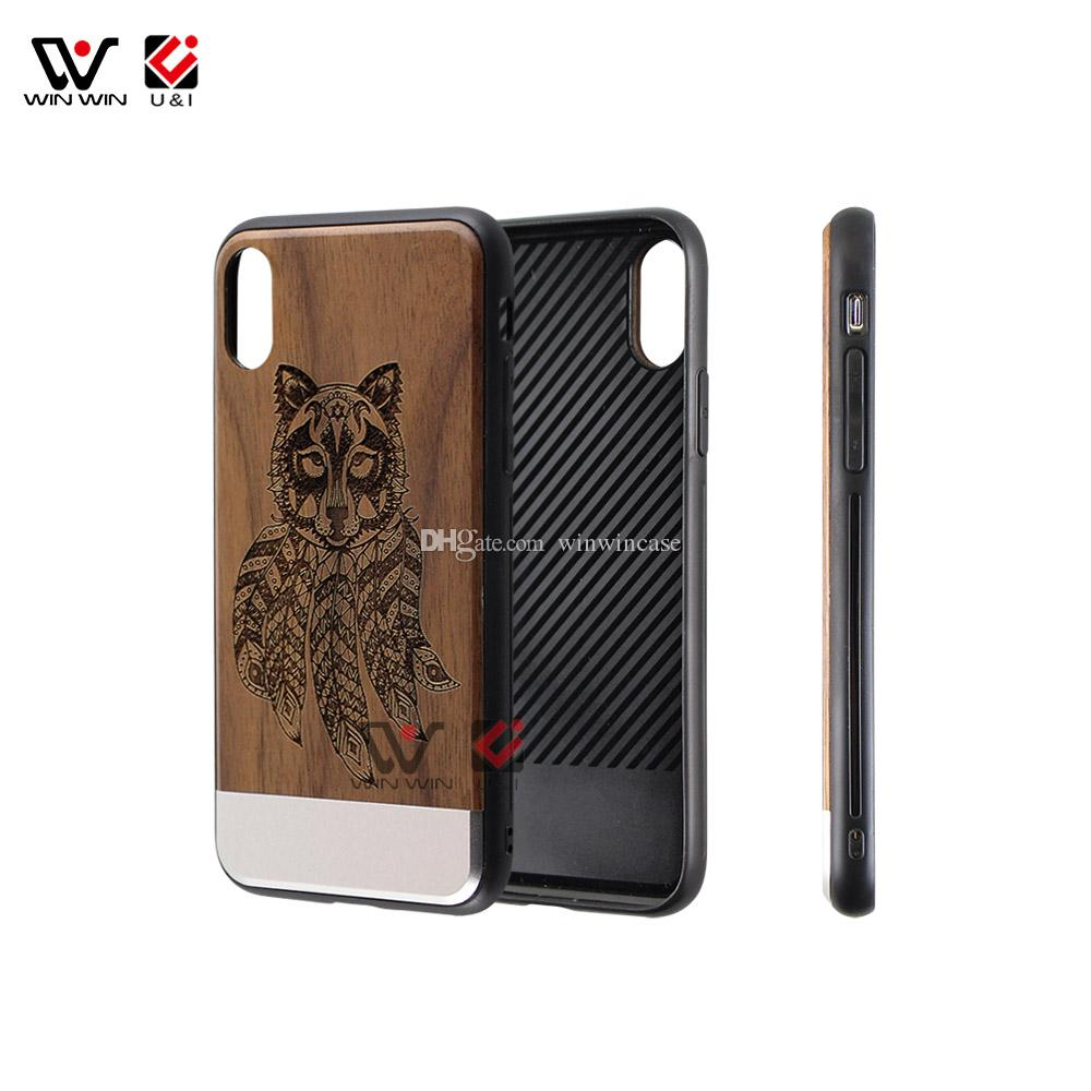 Hot selling metal wood cell phone case for iPhone x 8plus 7plus 6s custom design mobile back cover full tpu rubber protection wholesale
