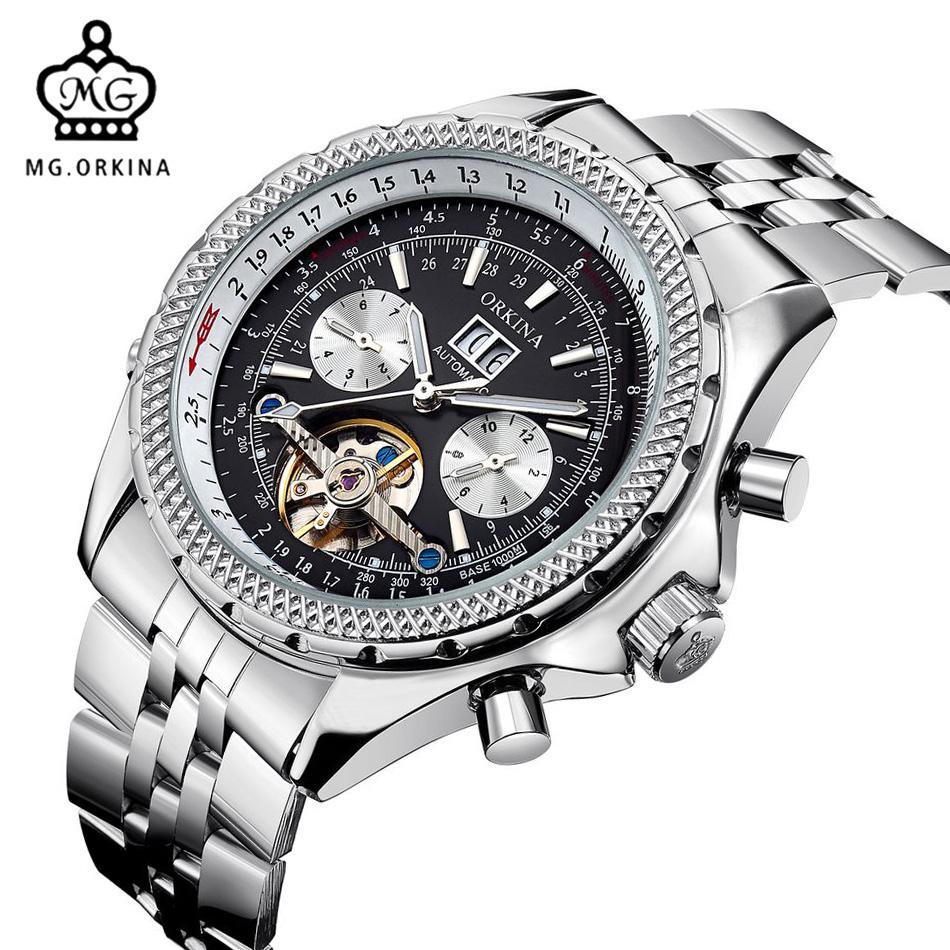 ea97dcc817e Compre MG ORKINA Top Marca Mens Relógios Calendário Mecânico Automático  Relógio De Pulso Masculino Aço Inoxidável Engrenagem Caso De Negócios  Horloge 2017 ...