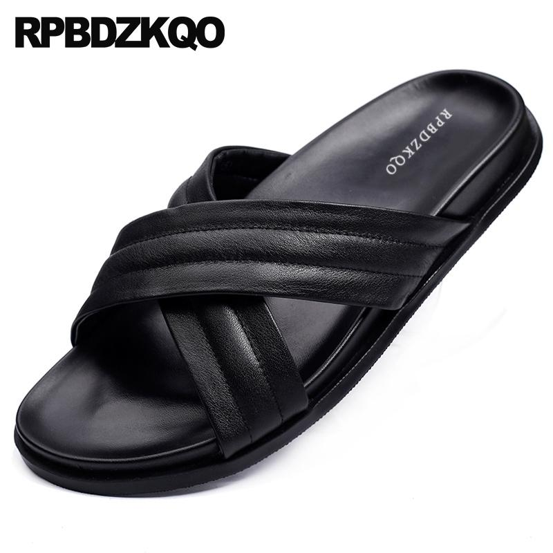 c739720463333d Slip On Casual Soft Designer Slides Shoes Mens Sandals 2018 Summer Outdoor  Men Black Leather Slippers Famous Brand Beach Flat Platform Shoes Prom Shoes  From ...