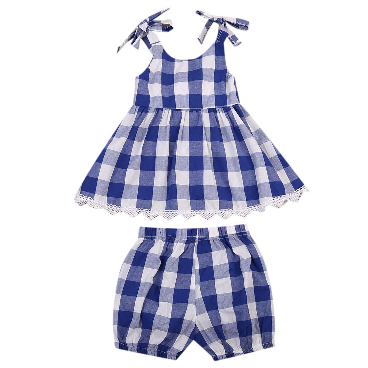 c2231cab5940 2019 Toddler Kids Baby Girls Checked Dress Tops+Shorts Outfits ...