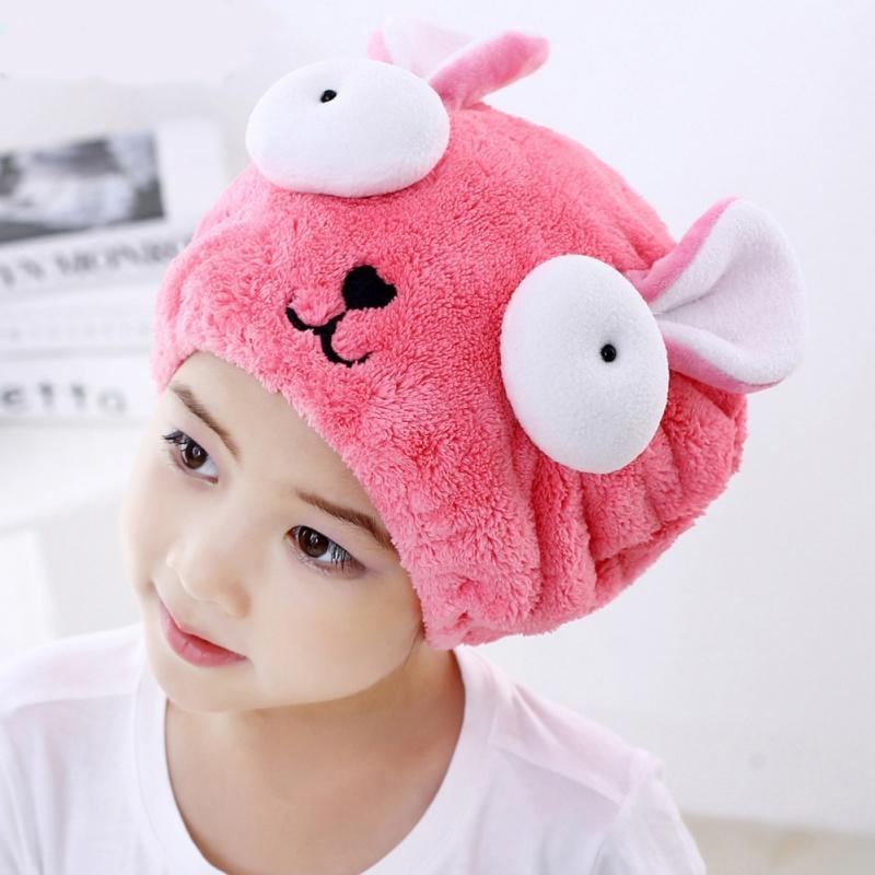 Home Cute Bath Towel Hair Dry Hat Coral Velvet Cartoon Kids Strong