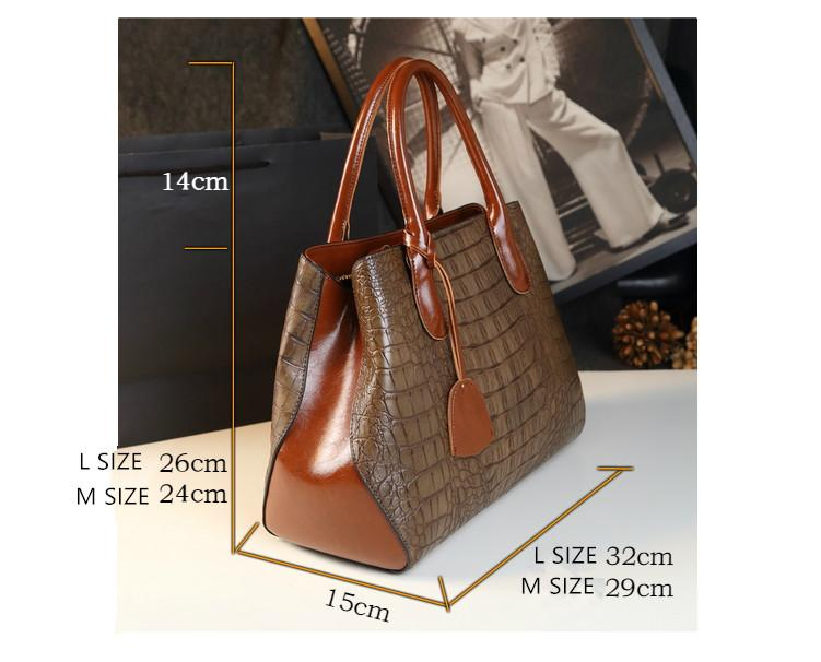 89ae82a3895 New casual woman leather handbag crocodile pattern high quality split  leather bags handbags women famous brands office work tote