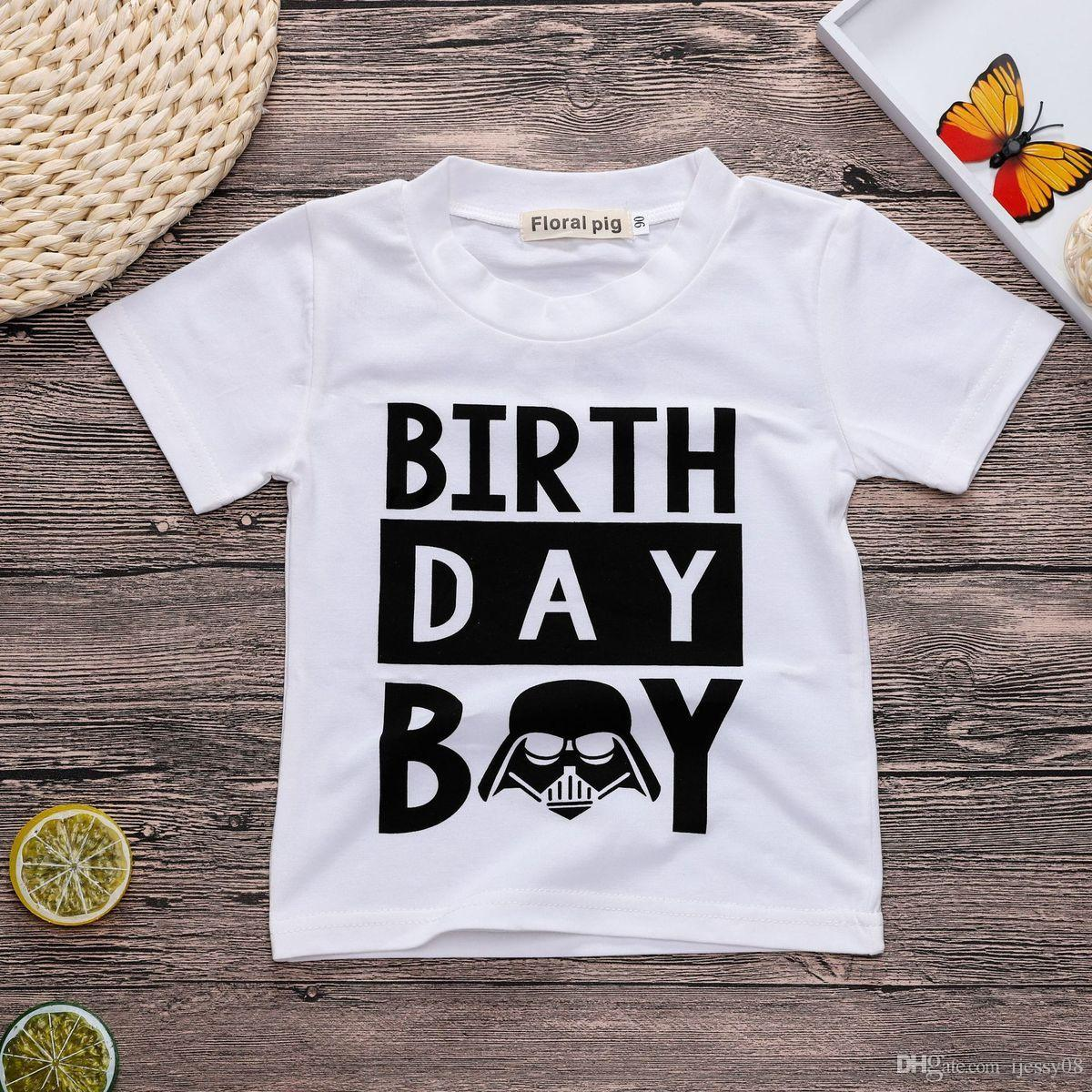 2019 Ins Baby T Shirt Birthday Boy English Printing Lily White Child Pity From Ijessy08 603