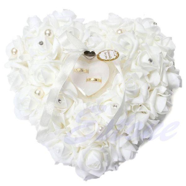 Décorations de mariage 2016 en forme de coeur Fleurs Saint Valentin Cadeau Anneau Oreiller Coussin anneau de coussin décoration de fête mariage