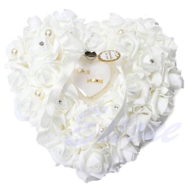 Decorazioni di nozze 2016 Fiori a forma di cuore Regalo di San Valentino Anello regalo Cuscino Cuscino a forma di anello decorazione festa mariage