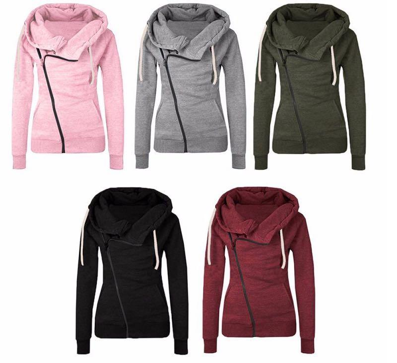 1555c88ea26 European And American Autumn Fashion Long Sleeved Lapel Pocket Zip ...