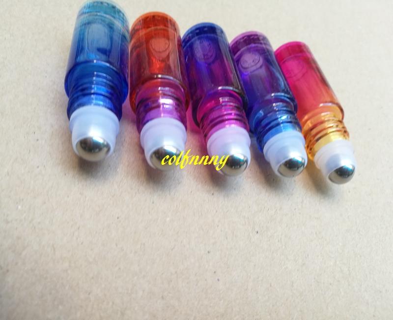 100 pz / lotto 20 * 63mm 5 ML colore sfumato rotolo di vetro spesso su olio essenziale bottiglia di profumo vuota bottiglie a sfera in acciaio a rulli C2202