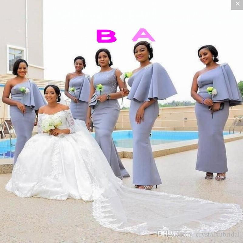 2019 New African Bridesmaid Dresses One Shoulder Satin Beaded Silver Mermaid Floor Length Wedding Guest Dress Plus Size Maid Of Honor Gowns