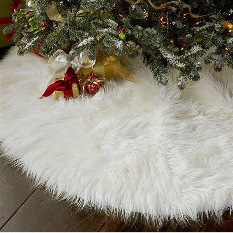 Compre 1 UNID Creativo Blanco Felpa Árbol De Navidad Faldas De Piel ...