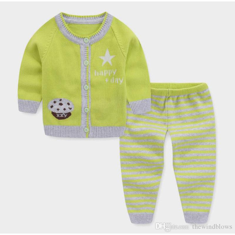 b20fef903 Newborn Baby Spring Autumn Clothing Sets Cotton Cardigan Sweaters Infant  Boys Sweater Sets Knitting Sleep Wear Outfits Purple Cardigan For Girls  Dressy ...