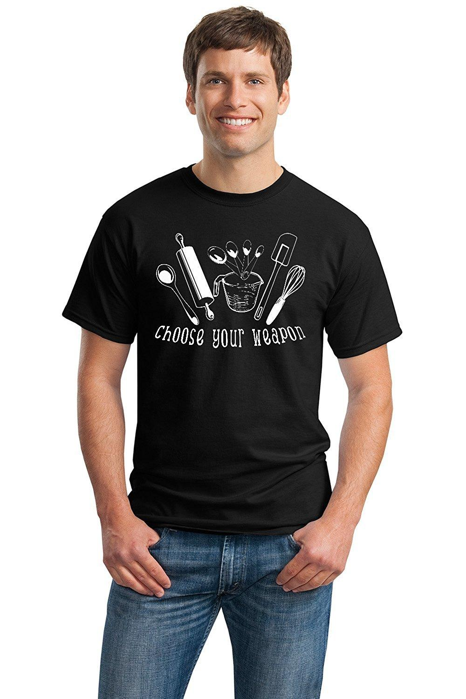 Print Logo On Shirt Mens Choose Your Weapon Short Sleeve Fashion