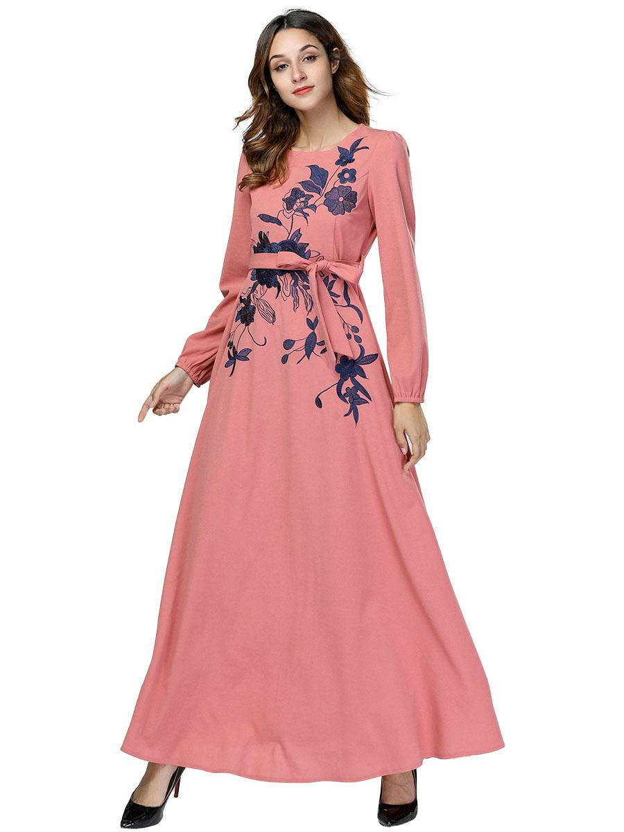 276c02078ba 2019 Women Casual Long Sleeve Floral Embroidery Maxi Dress Autumn Winter  Vestidos 2018 Lace Up Swing Elegant Pink Party Dresses From  Joycez2820902691
