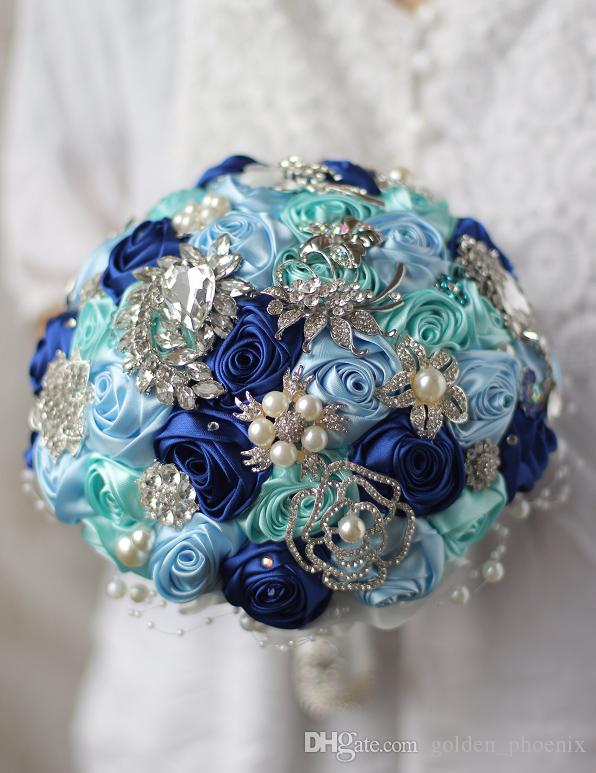 Korean custom wedding bouquets DIY brooch silk roses brides bridesmaids holding flowers
