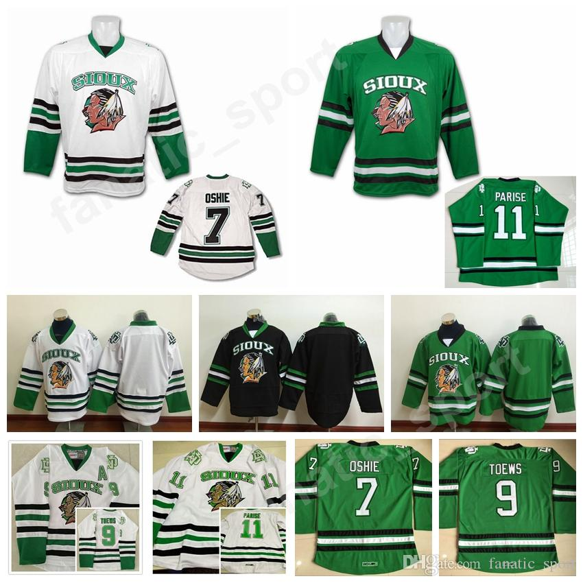 2019 College 7 TJ Oshie Jersey Men North Dakota Fighting Sioux 9 Jonathan  Toews 11 Zach Parise Jerseys All Stitched Black Green White From  Fanatic sport bb335727239