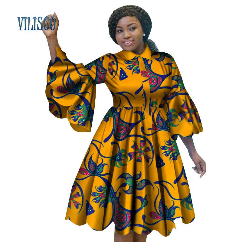 37c29295ce 2019 Fashion African Print Dresses For Women Bazin Riche Lovely Ruffles  Sleeve Red Dress Traditional African Women Clothing WY3222 From Sikaku