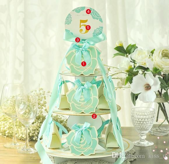 Cake Tower Party Gift Holder Baby Shower Candy Boxes with Ribbon Carriage Shape Shower Favor box For Bomboniere Wedding Anniversary