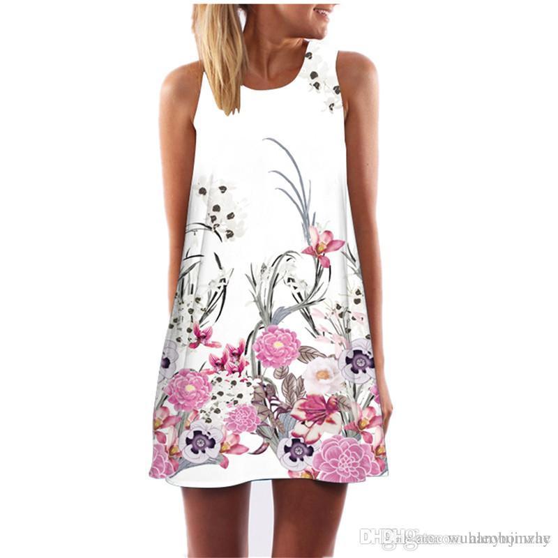 31df1de5fb98 2019 2018 Summer Dress Women Floral Print Chiffon Dress Sleeveless Boho  Style Short Beach Dress Sundress Casual Shift Dresses CL658 From  Aleobonway