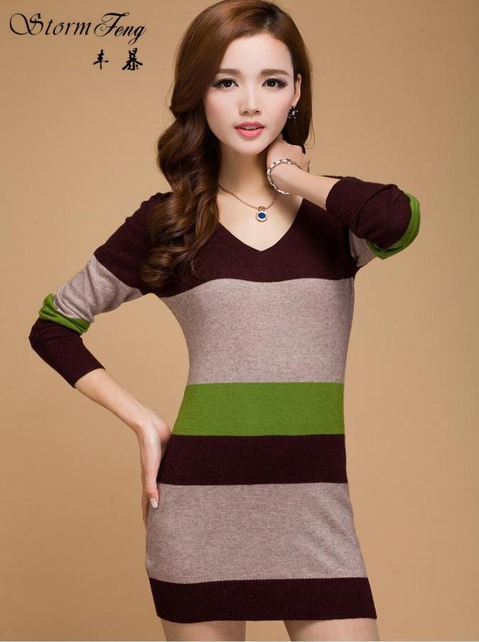 aeacff2b86 Compre Blusas Das Mulheres Moda Outono Inverno Camisola De Tricô Cashmere  Mujer Vestidos Sueter Mulheres Pullovers Tops Listras T171072 De Bairi
