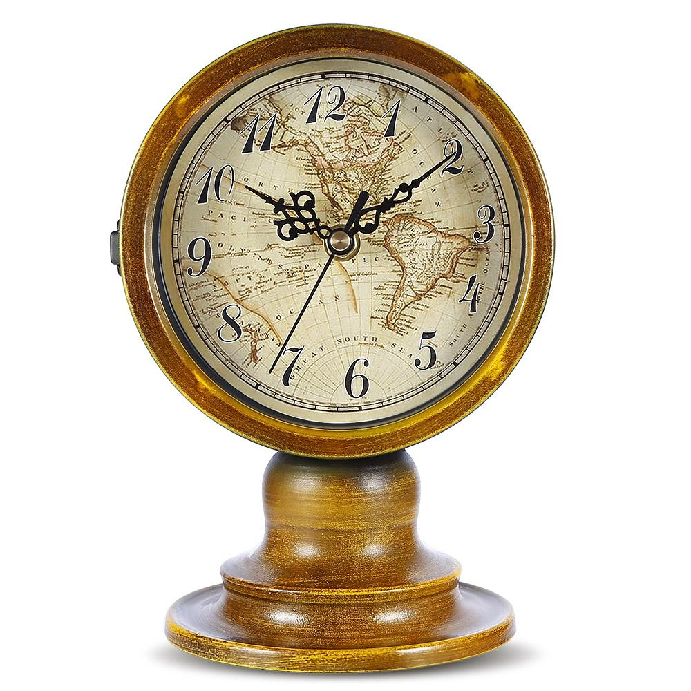 Original double sided european retro style durable table clock with original double sided european retro style durable table clock with world map living room office restaurant home decoration wall clocks table clocks desk gumiabroncs Image collections