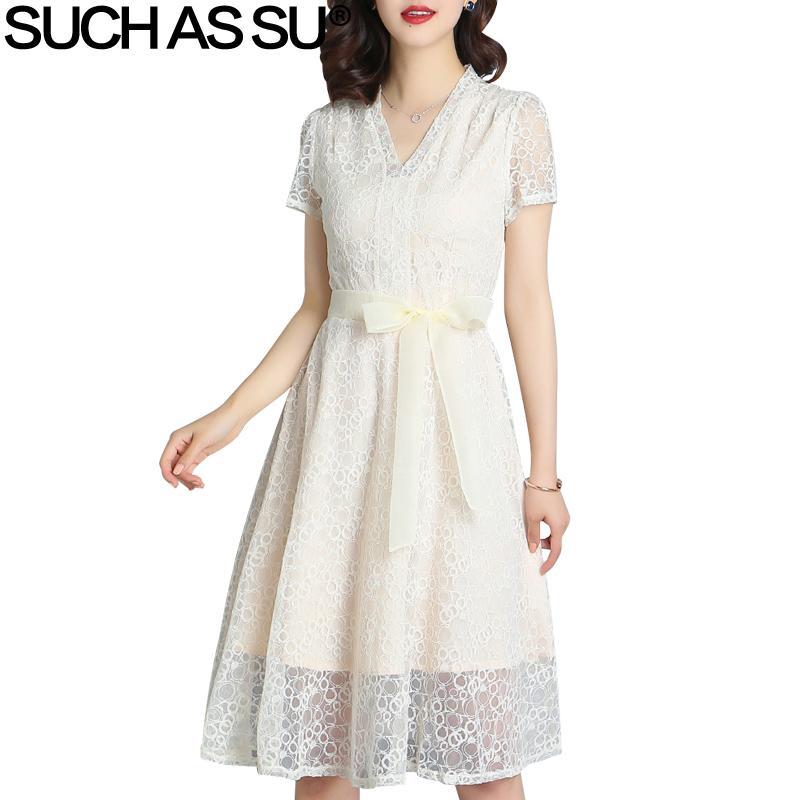 2019 Summer Clothes For Women 2018 Korean Lace Dress Apricot Black