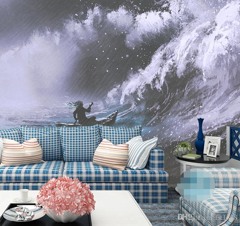 3D Black and white Waves Rain Custom Wallpaper Living Room Bedroom Sofa Background Abstract Wall Mural Cartoon Home Decorative