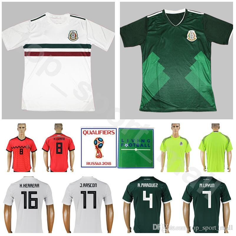 c5593c8afc7 2019 Mexico Soccer Jersey Mexican Men 2018 World Cup National Team 4  MARQUEZ 7 LAYUN 16 HERRERA 8 FABIAN JIMENEZ CORONA Football Shirt Kits From  ...