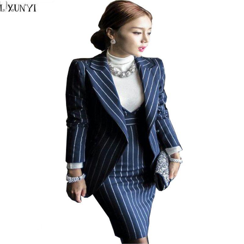 2018 high quality designer elegant women suit set slim stripe tank