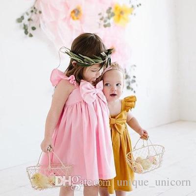 Summer Newborn Kids Baby Girl Fly Sleeve Bowknot Dress Kids Soft