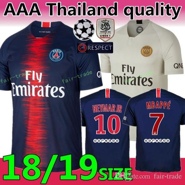 18 19 FC Paris Saint Germain Jersey PSG Soccer 7 MBAPPE 9 CAVANI 6 VERRATTI  11 DI MARIA SILVA Football Shirt Kits Online with  16.53 Piece on  Fair-trade s ... 8f75d4704
