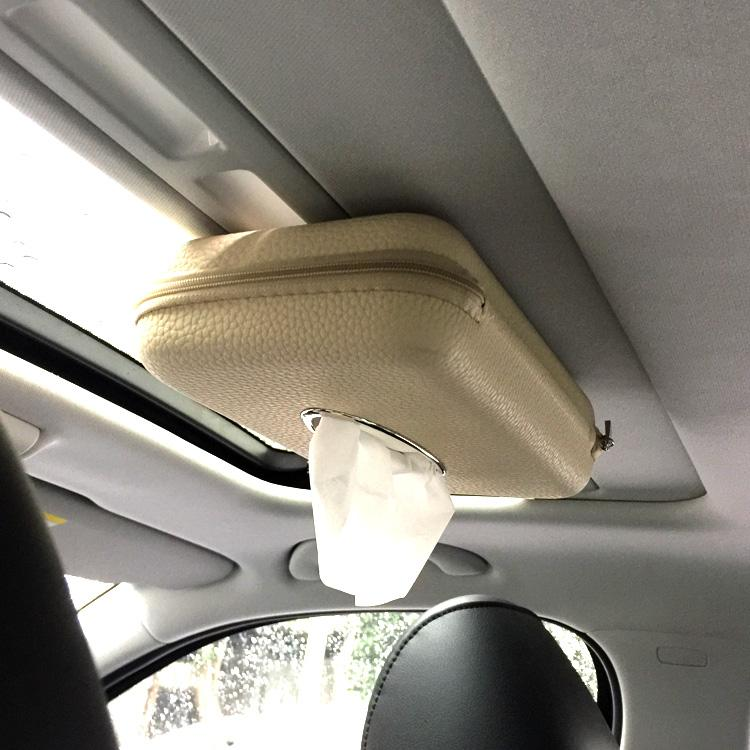 Beige Sun Visor Car Tissue Box Sun Roof Seat Back Paper Towels Cover Case  Hanging Tissue Container Universal Tissue Box Online with  31.14 Piece on  ... 9d8a0b8ad1c