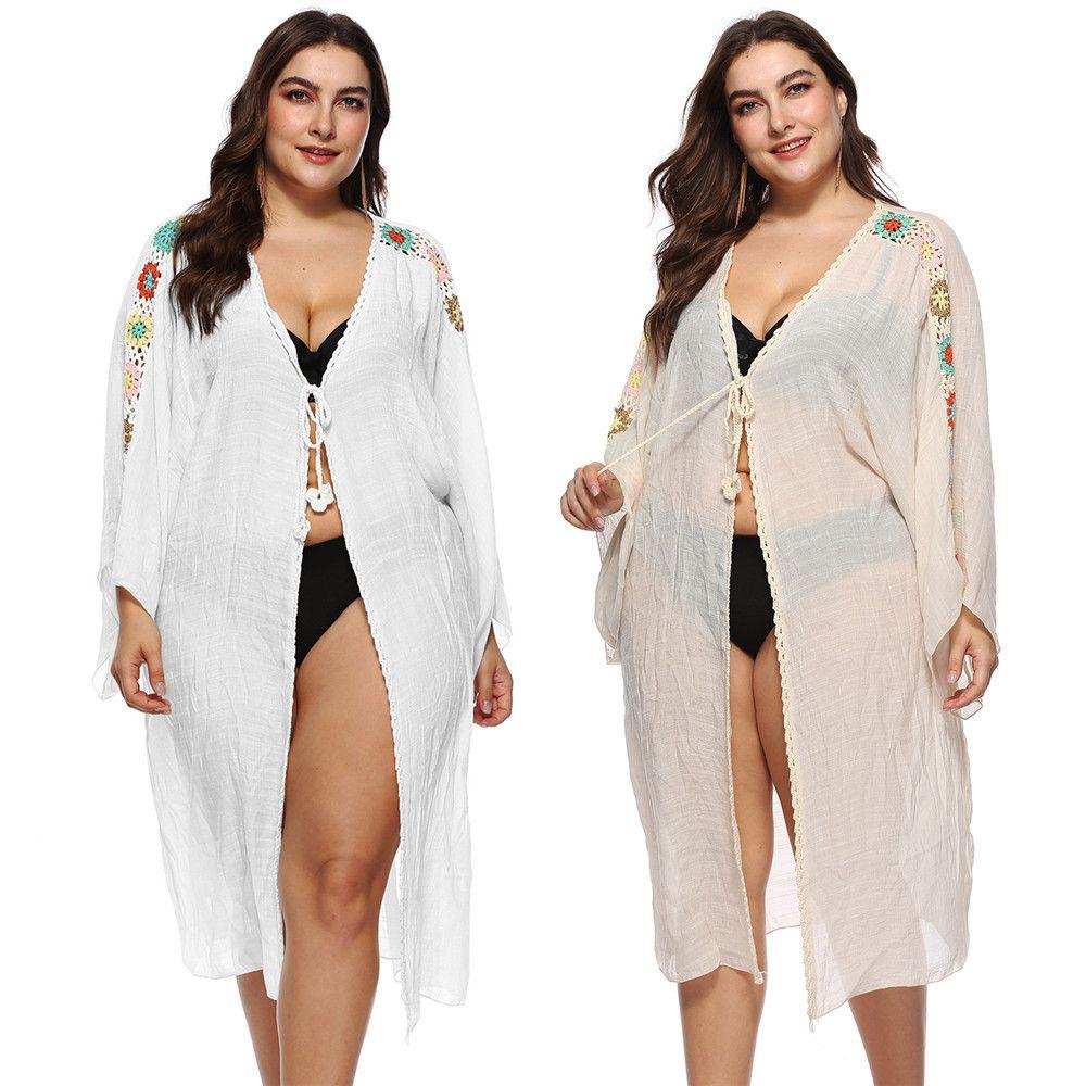 6a74192f8c5ba 2019 Bikini Beach Cover Ups Swimwear Lace Up Long Cardigan Blouses Women  Sexy Summer Crochet Long Sleeve Sunscreen Holiday Seaside Swimsuit Top From  ...