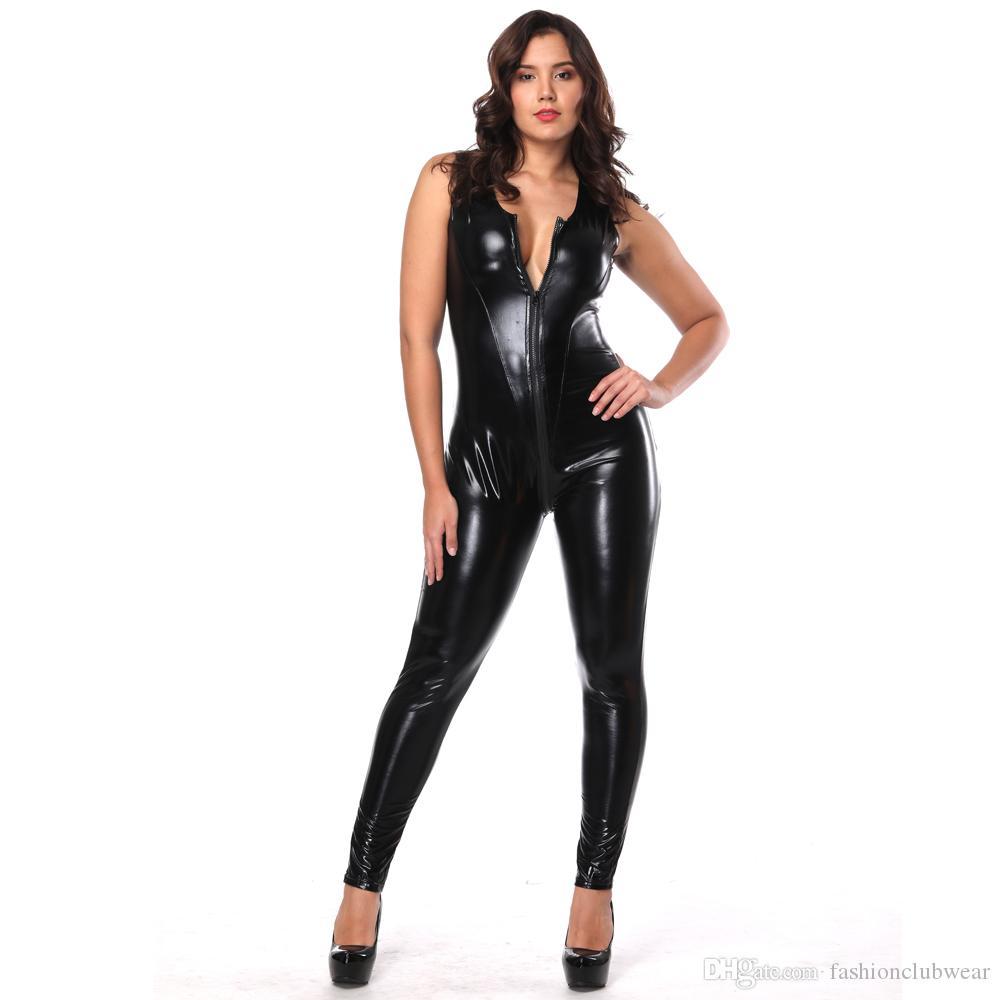 النساء فو الجلود ارتداءها مثير زيبر الجبهة الرباط حتى bodycon بذلة المثيرة أكمام المنشعب مفتوحة catsuit مثير