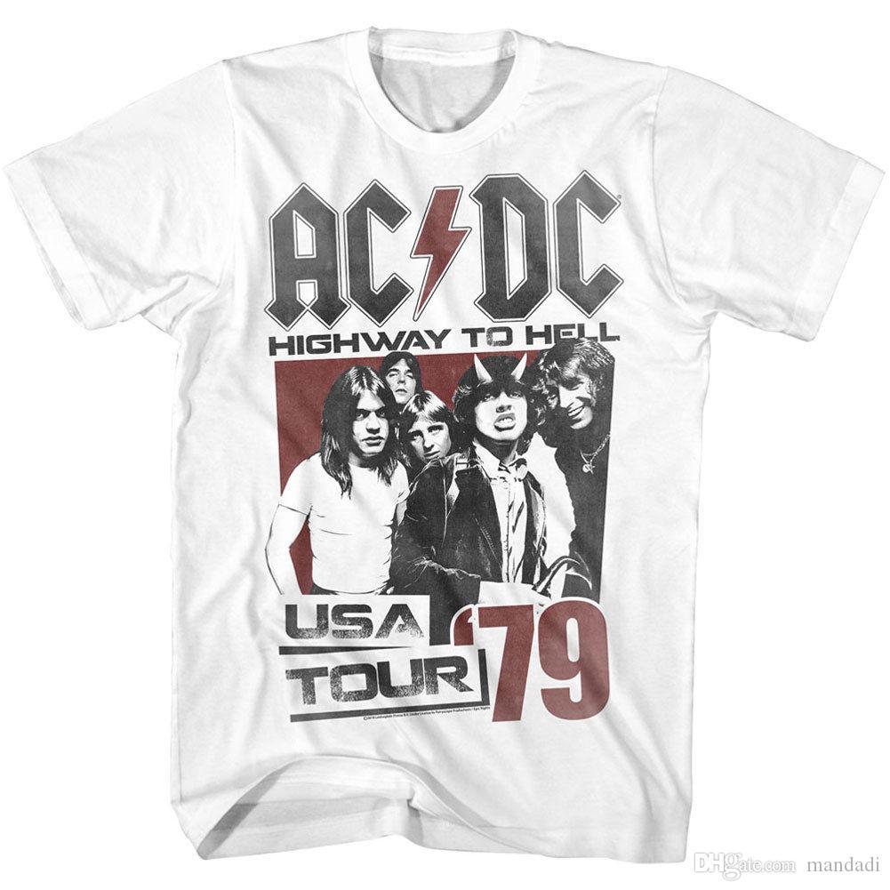 Acdc Mens Helltour79 T Shirt White Latest T Shirts Design Best T