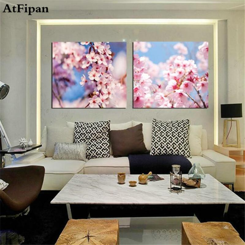 AtFipan 2PCS Cherry Blossoms Pink Flowers Pictures Painting Wall Picture for Living Room Canvas Paintings No Frame