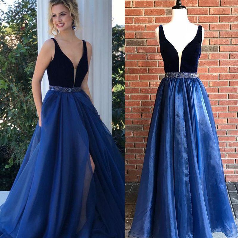 2018 New Design Navy Blue Prom Dress Deep V Neck Velvet Top Tulle ...