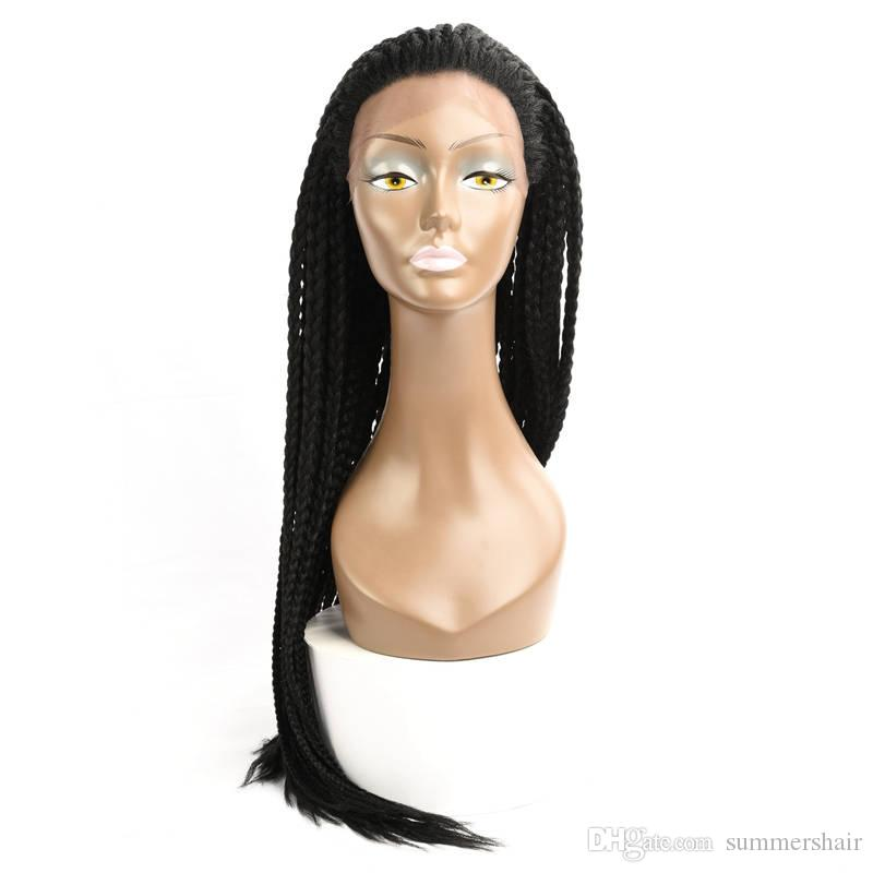 30'' Box Braids Lace Frontal Wig Synthetic Crochet Briaids Adjustable Size African American Afro Braiding Hair for Black Women