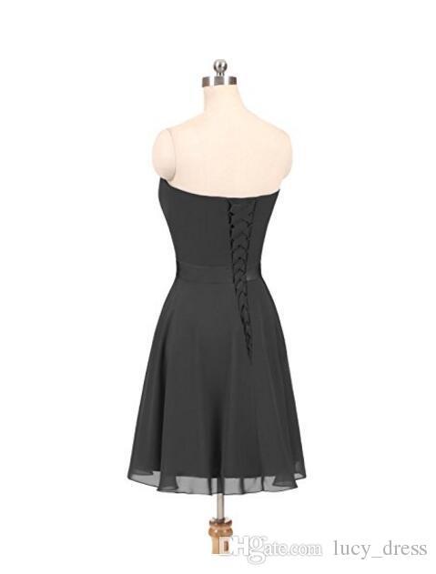 Vestido corto de dama de honor de gasa hasta la rodilla sin tirantes Una línea con vestidos de dama de honor de encaje con cordones Espalda