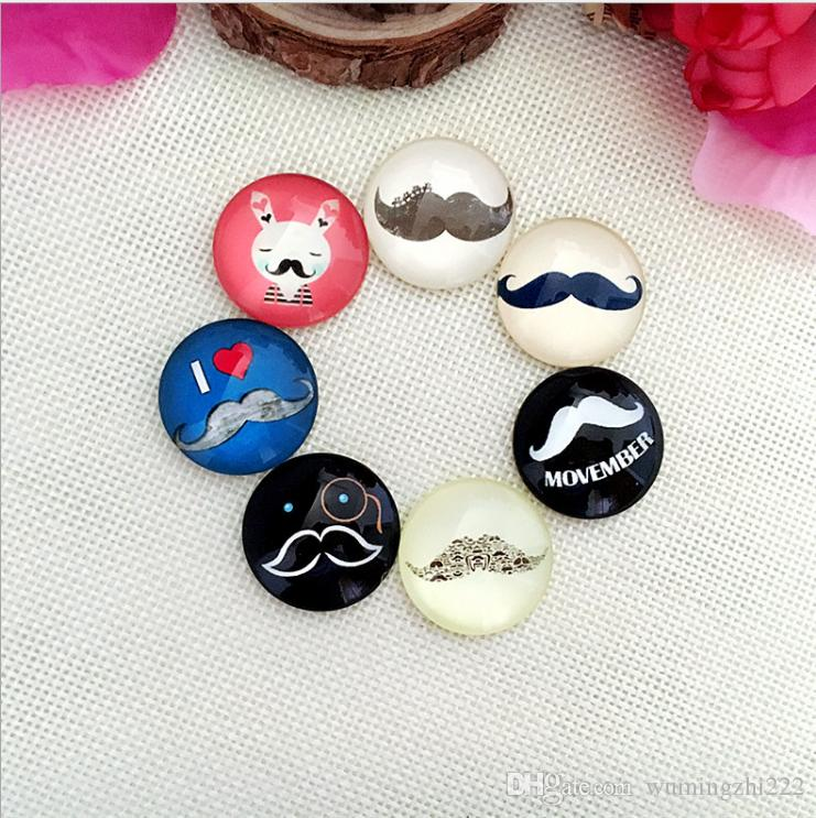 2018 HOT selling Dramatic beard glass Snap button Charm Popper for Snap Jewelry picture pendant