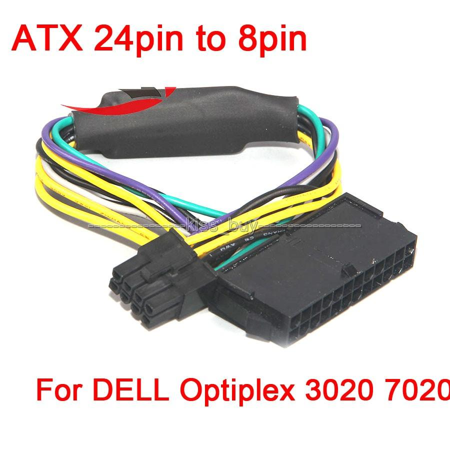 Freeshipping 2pcs/lot ATX 24pin to 8pin Power Supply Cable 18AWG for DELL  Optiplex 3020 7020 9020