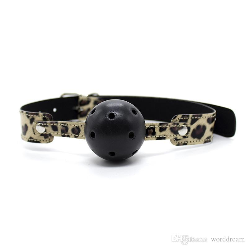 Leather Wrist Ankle Cuffs Mouth Plug Ball Gag Whip Collar Eye Mask Bondage Slave In Adult Games Fetish Sex Toys For Women - HT07
