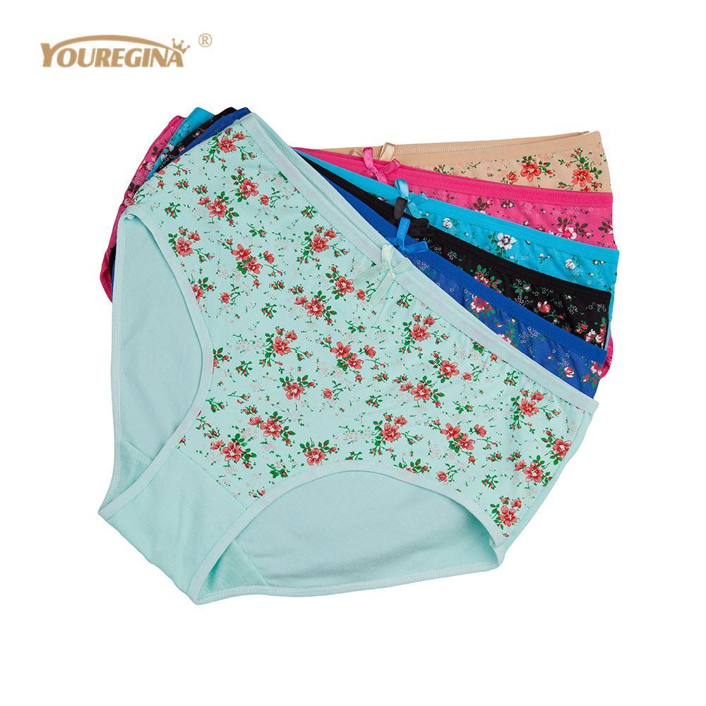 cbe7396fa33 2019 Wholesale Women Panties Cotton Plus Size High Waist Print Panties  Women S Floral Lingerie Briefs Ladies Under Wear From Mingmusic002