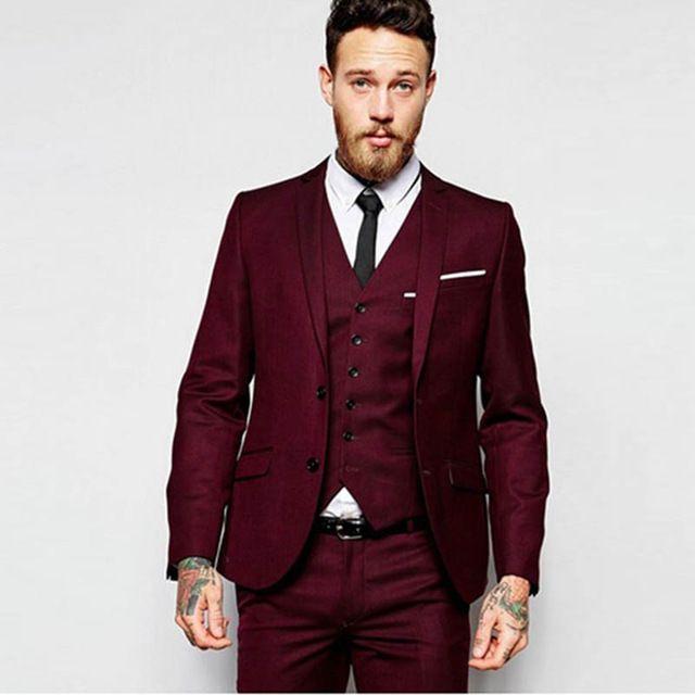 Compre Traje Homme Hombres Trajes Para La Boda 2018 Trajes Para Hombre Con  Los Pantalones Vino Rojo   Gris Solo Traje De Breasted Homme Mariage Trajes  Para ... 51cc5d7d40c
