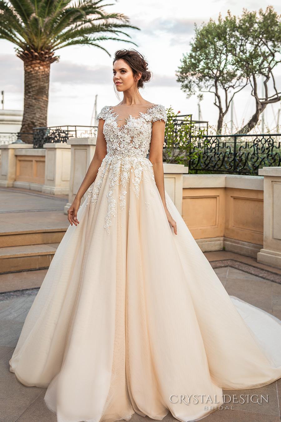 Romantic Princess Ivory Cream Wedding Dresses 2018 Crystal Design ...