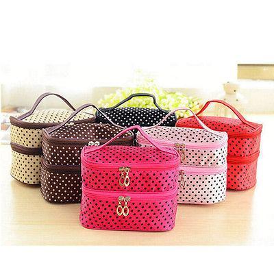 Women Multifunction Double desk Polka Dot Cosmetic Bag Makeup Case Pouch Toiletry Zip Organizer Travel