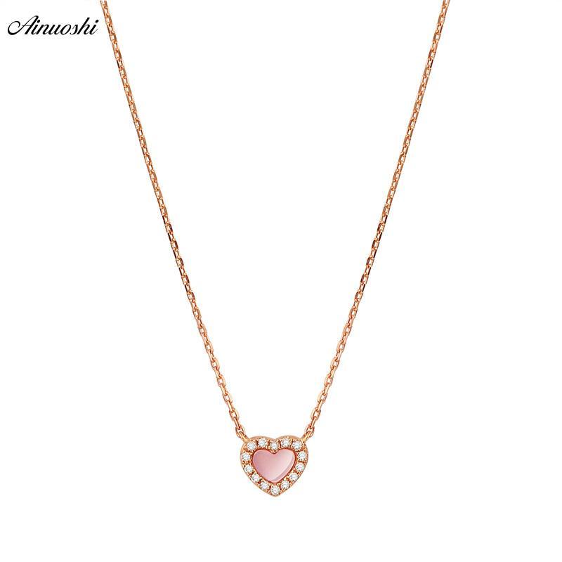 e730f90ae815 Compre AINUOSHI Genuino 18 K Oro Rosa Collar Colgante Femenino Natural Rosa  Onyx Collar Colgante En Forma De Corazón De Diamante Colgante De Joyería  S923 A ...