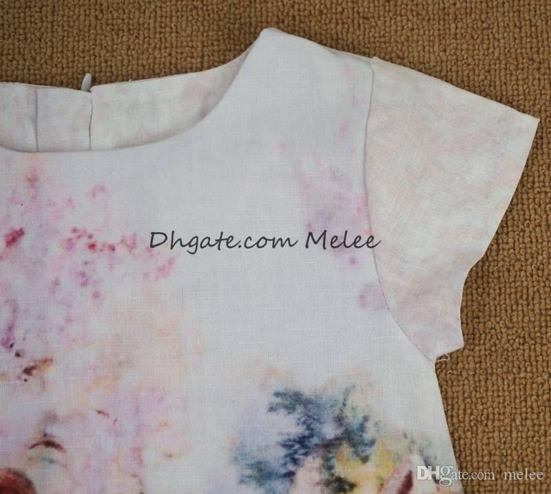 Ins zomer meisjes floral print luipaard jurken baby meisjes katoen cartoon jurk trouwjurken ontwerp kinderen prinses jurk 2-6 jaar gratis schip